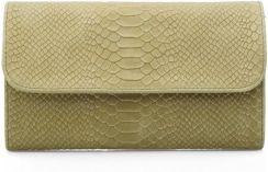 88a5653a9deb9 Vera Pelle torebka skórzana wizytowa kopertówka wężowa M77 Odcienie żółtego  i złota