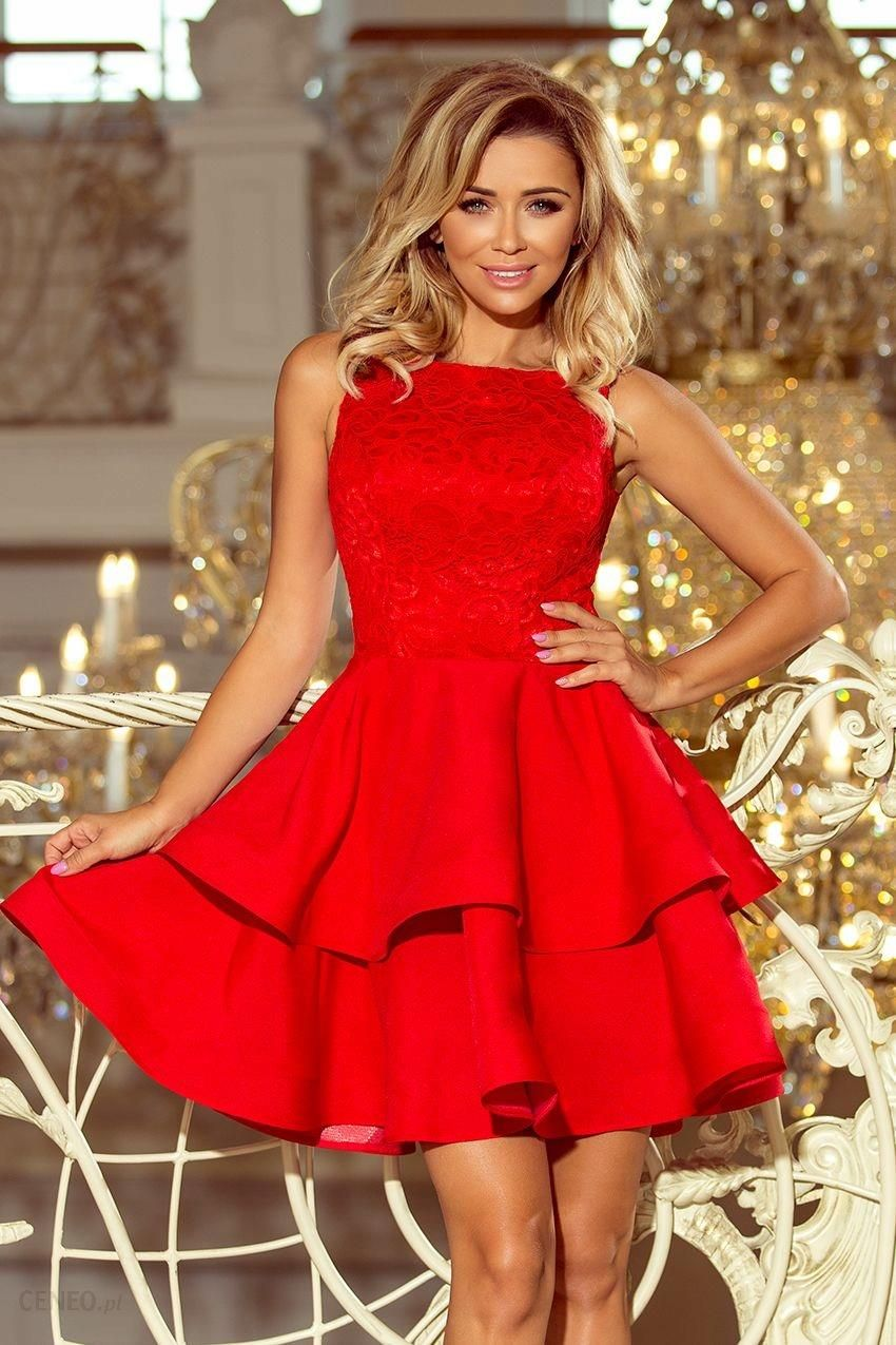 b97c5bee43 Modna sukienka góra koronka wesele - Czerwona L - Ceny i opinie ...