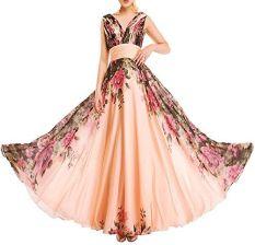 e4654e8c4c Amazon KAXIDY damska elegancka sukienka z kwiatami sukienka na imprezy  sukienka koktajlowa sukienka wieczorowa długa sukienka