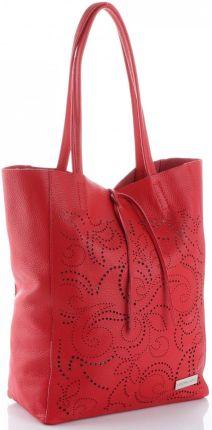 b8b8a9af3cadf Vittoria Gotti Ażurowa Torebka Skórzana Włoski ShopperBag Czerwona (kolory)  ...