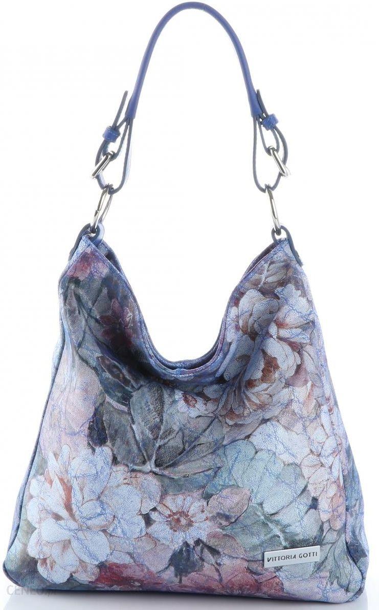 8d9bc07cf378b VITTORIA GOTTI Made in Italy Modna Torebka Skórzana w Kwiaty Multikolorowa  Niebieska (kolory) -