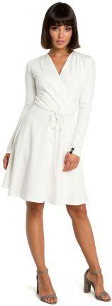 0c7e31155c Ecru Casualowa Rozkloszowana Sukienka z Dekoltem V na Zakładkę MOE