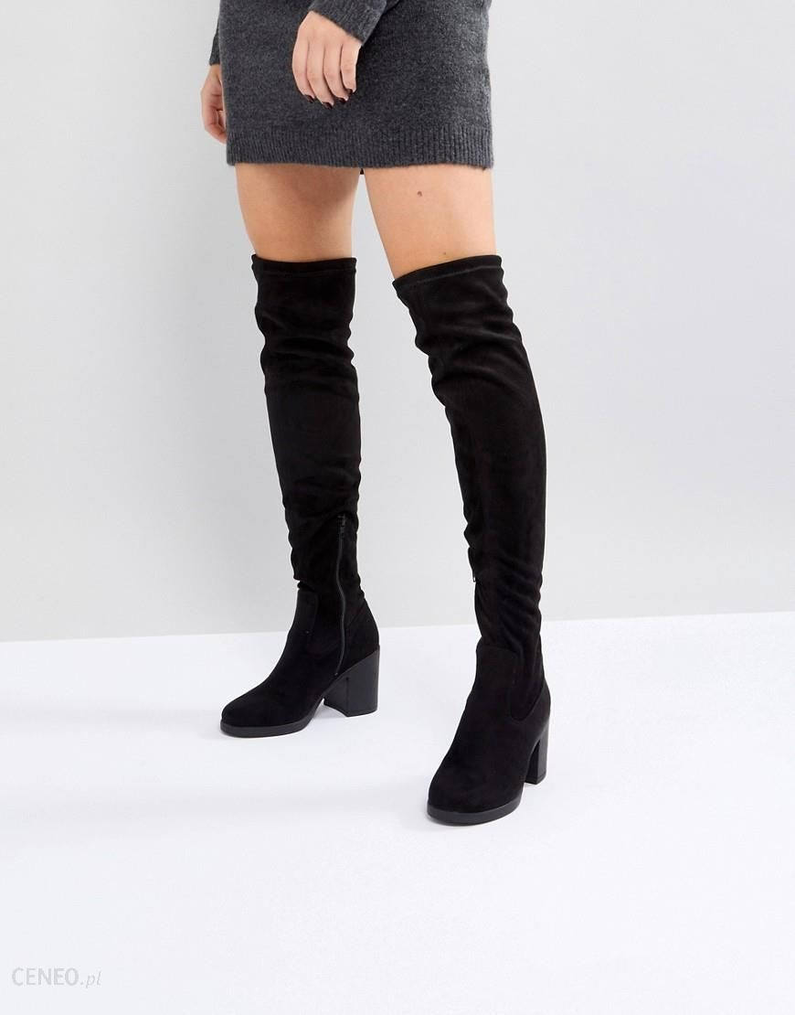 b92421cd1c0 Truffle Collection Chunky Heel Stretch Over Knee Boot - Black - Ceneo.pl