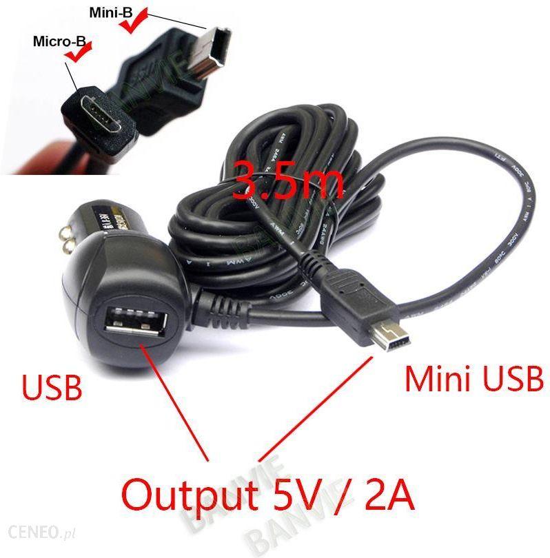 AliExpress MiniMicro USB Port Podwójna Ładowarka Samochodowa USB 5 V 2A Adapter Zapalniczki Do Ładowania Samochodów DVR Pojazdu z 3.5 metrów kabel