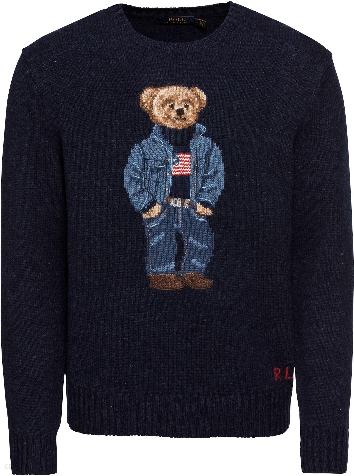 POLO RALPH LAUREN Sweter  WOOL-LS CN DENIM BEAR  - Ceny i opinie ... ba84bb00cd