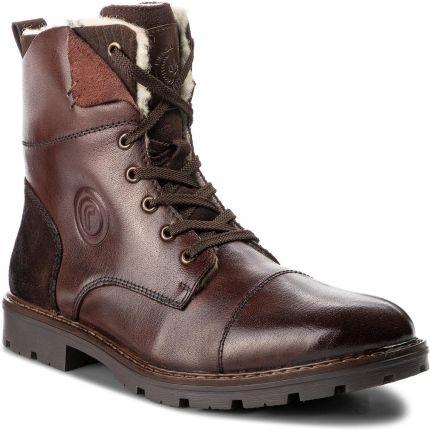 KENT 237 BRĄZ Wysokie męskie buty zimowe skóra Brązowy