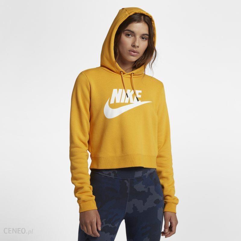 5900fc850ded7c Damska bluza z kapturem o krótszym kroju Nike Sportswear Rally - Żółć -  zdjęcie 1