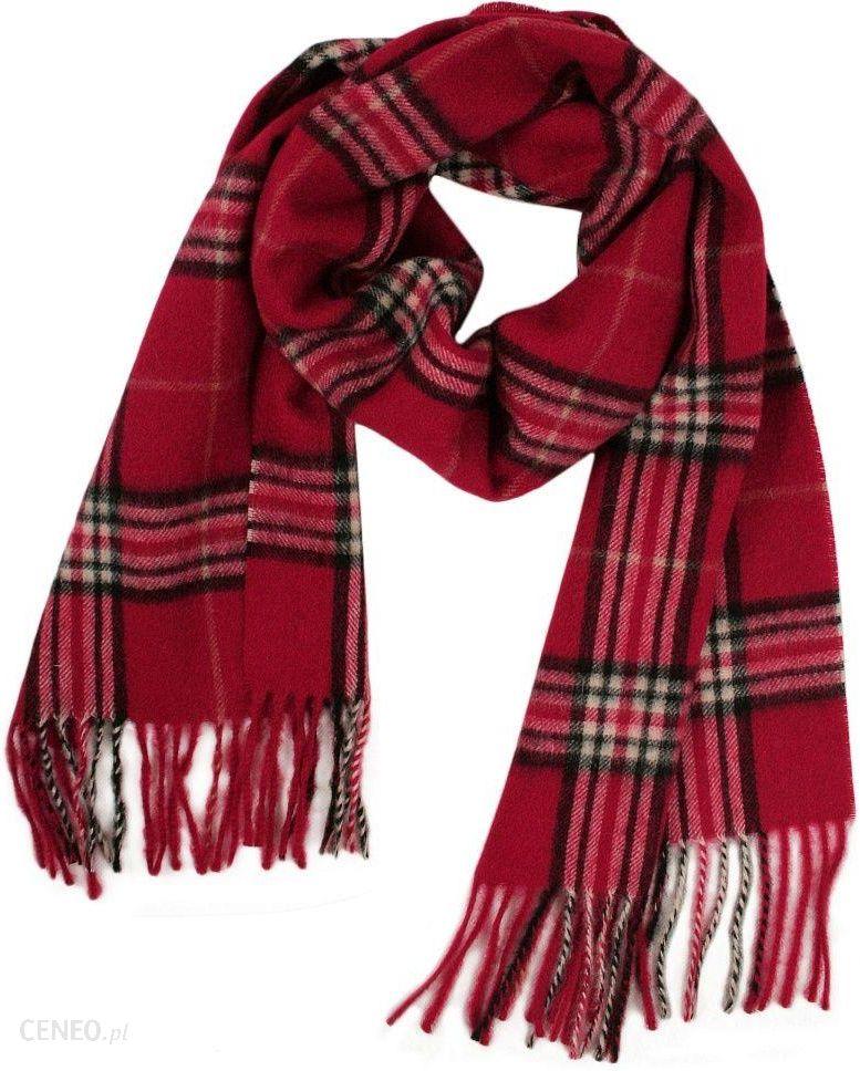 6195d1016fa23e Czerwony Ciepły Męski Szalik Wełniany - V. FRAAS - w Szkocką Kratę, z  Frędzlami