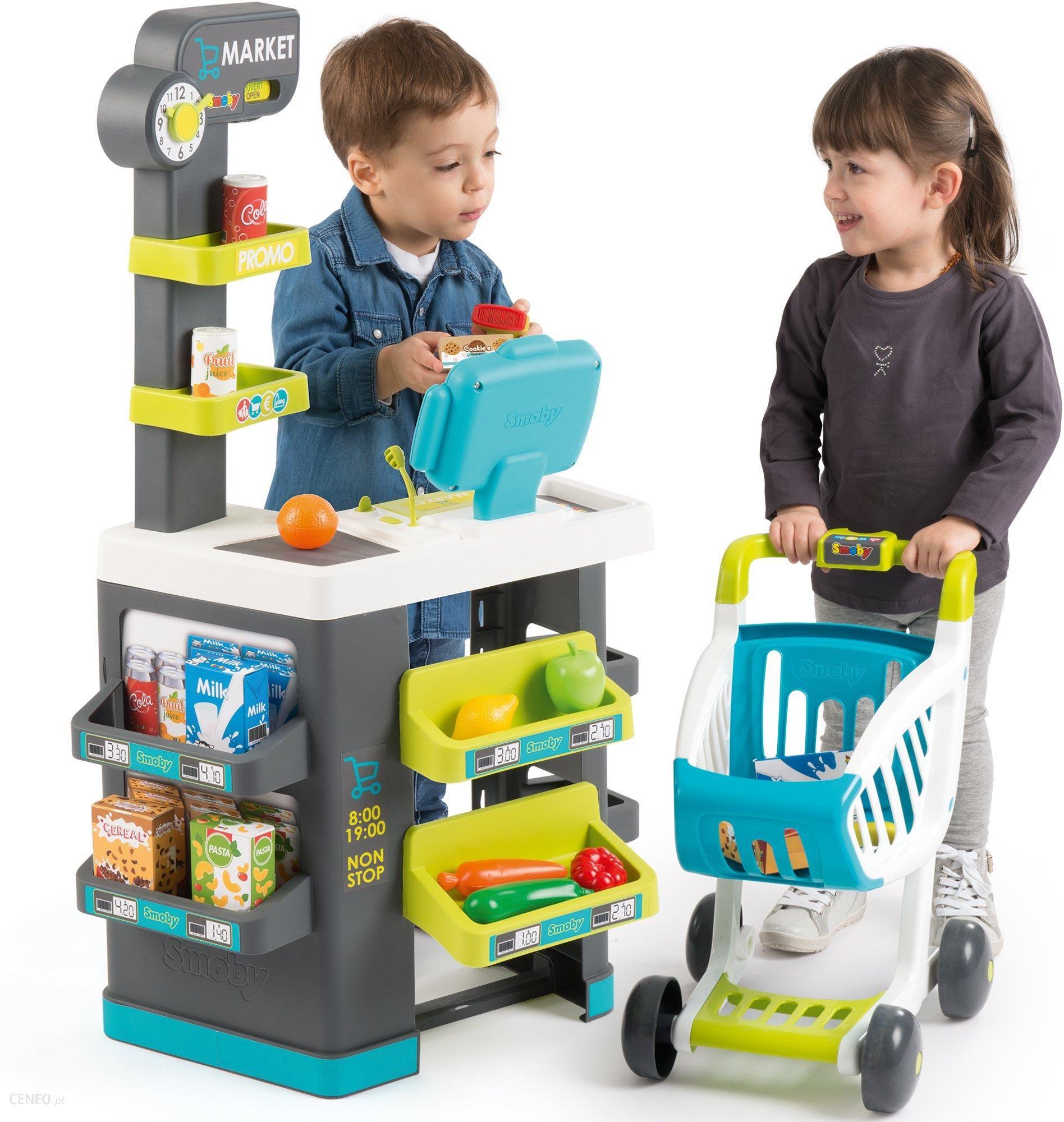 Smoby Supermarket Sklep Z Kasą Lodówką Wózkiem I Akcesoriami 350212