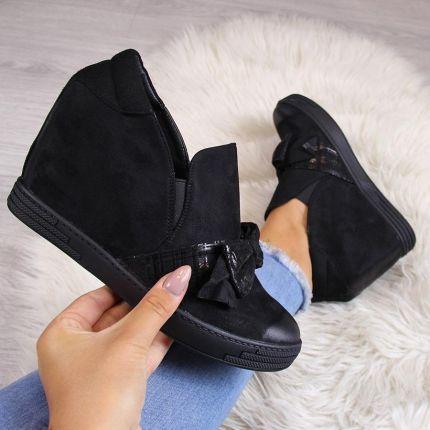 89d2b6ec89f2f Sneakersy damskie na koturnie z kokardką czarne Vinceza - Ceny i ...