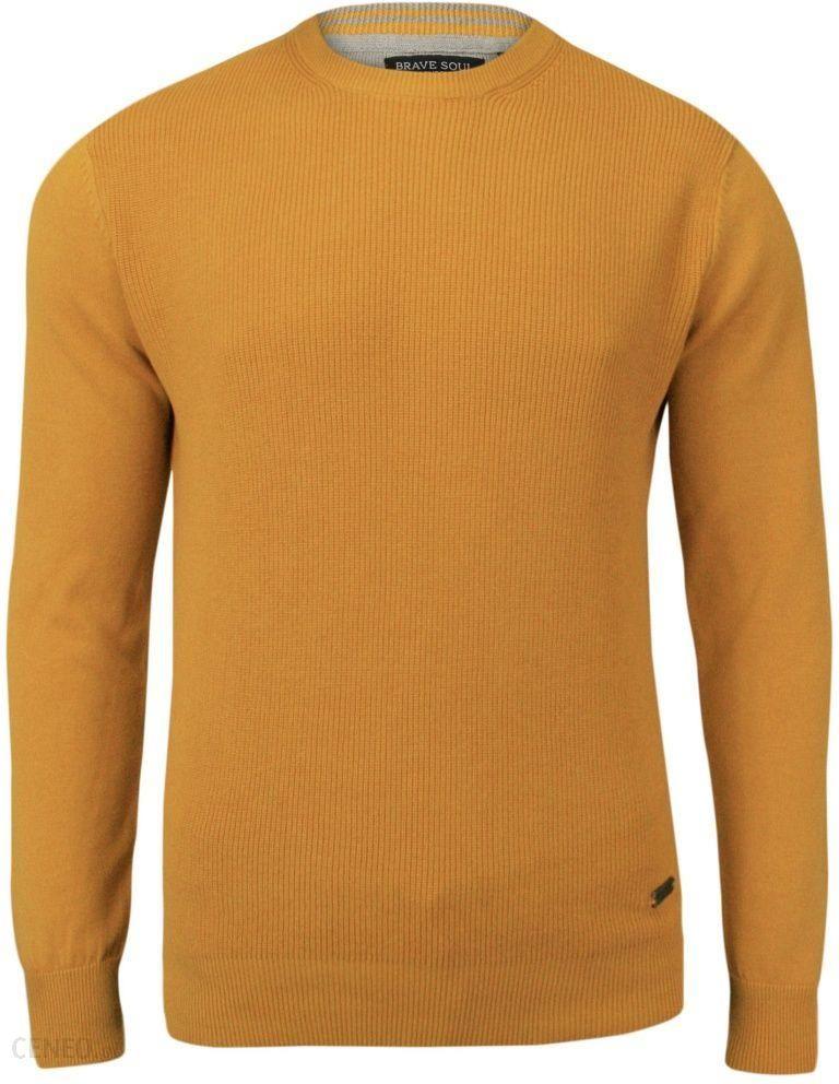 01f6bea3d324 Złoty Bawełniany Sweter Męski - BRAVE SOUL - 100% Bawełna