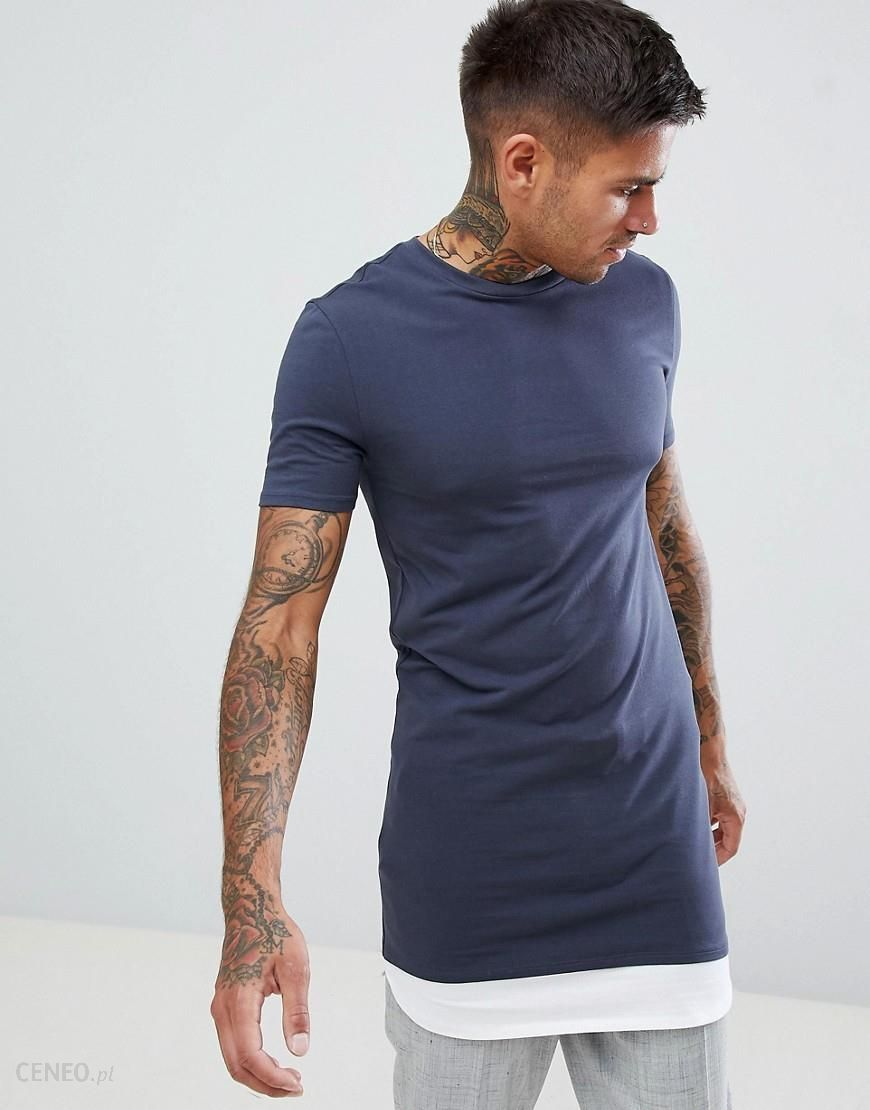 f29396d7 ASOS DESIGN super longline muscle fit t-shirt with contrast hem extender in  grey -