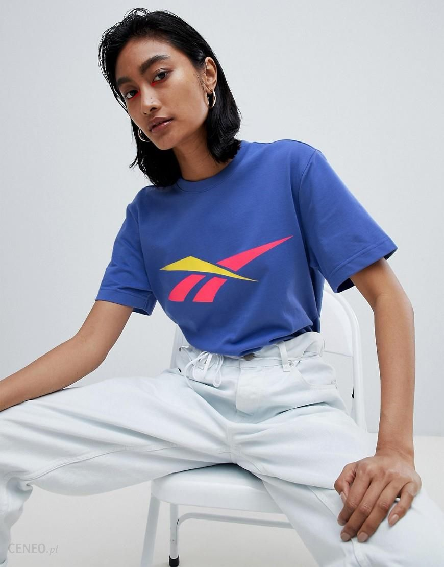 Reebok T Shirt With Contrast Vector Logo Blue Ceneo.pl