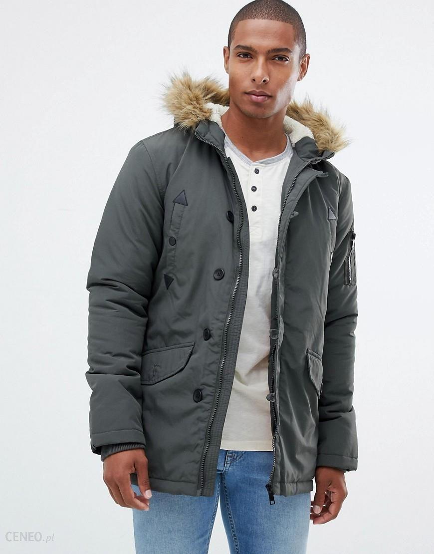 764d0d3e1ff6d Brave Soul Parka Jacket With Faux Fur trim Hood - Green - zdjęcie 1