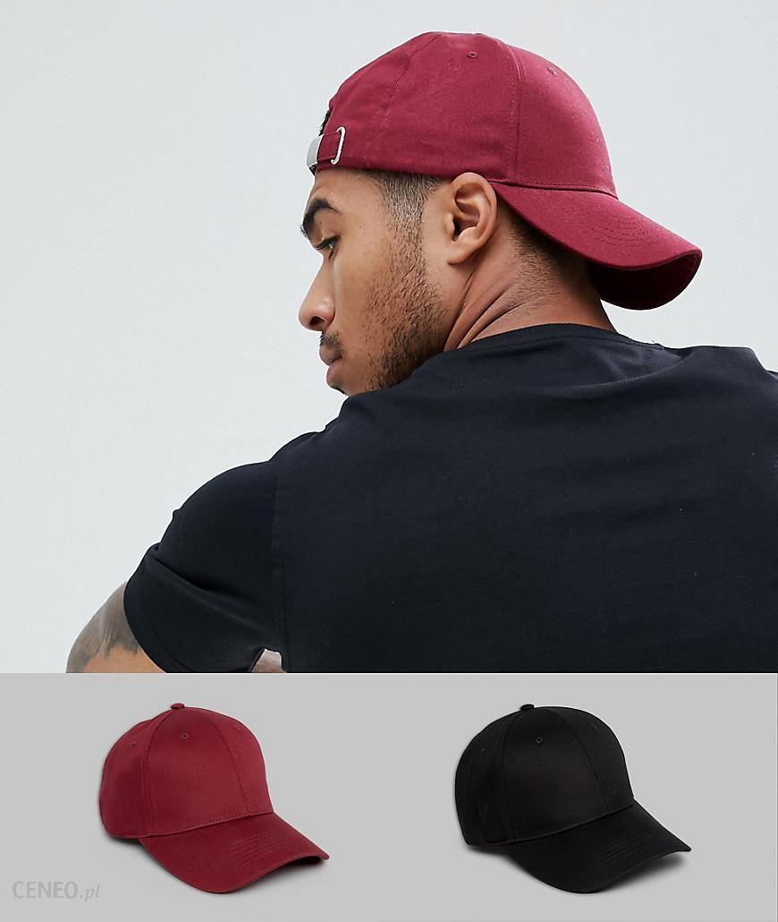 8388709d90b ASOS DESIGN 2 pack baseball cap in black   burgundy SAVE - Black - zdjęcie 1