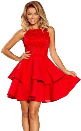 ae1f4afd57 Numoco Czerwona Wyjściowa Podwójnie Rozkloszowana Sukienka z Koronką