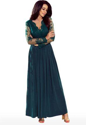 23fa2204c4 Numoco Zielona Wieczorowa Sukienka Maxi z Koronkową Górą