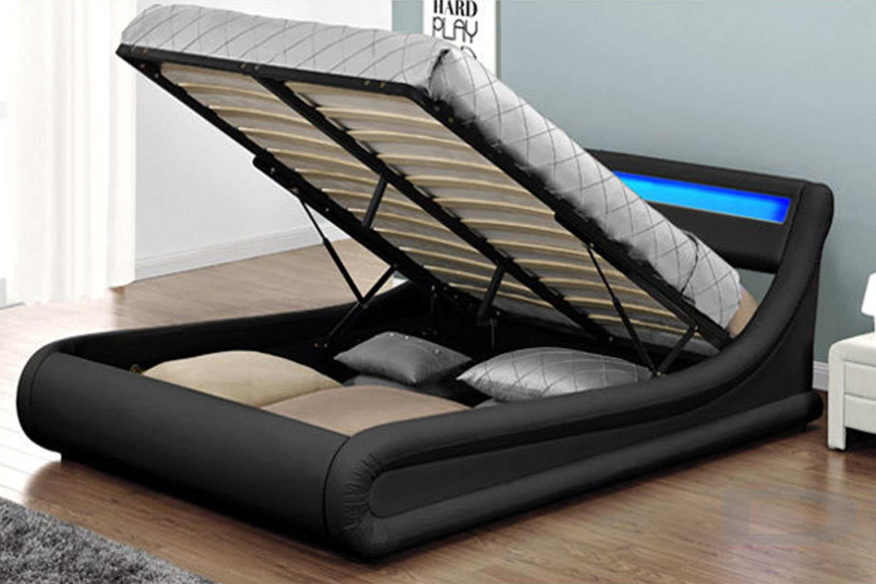 Meblemwm łóżko Z Materacem Tapicerowane 160x200 138 Led Czarne