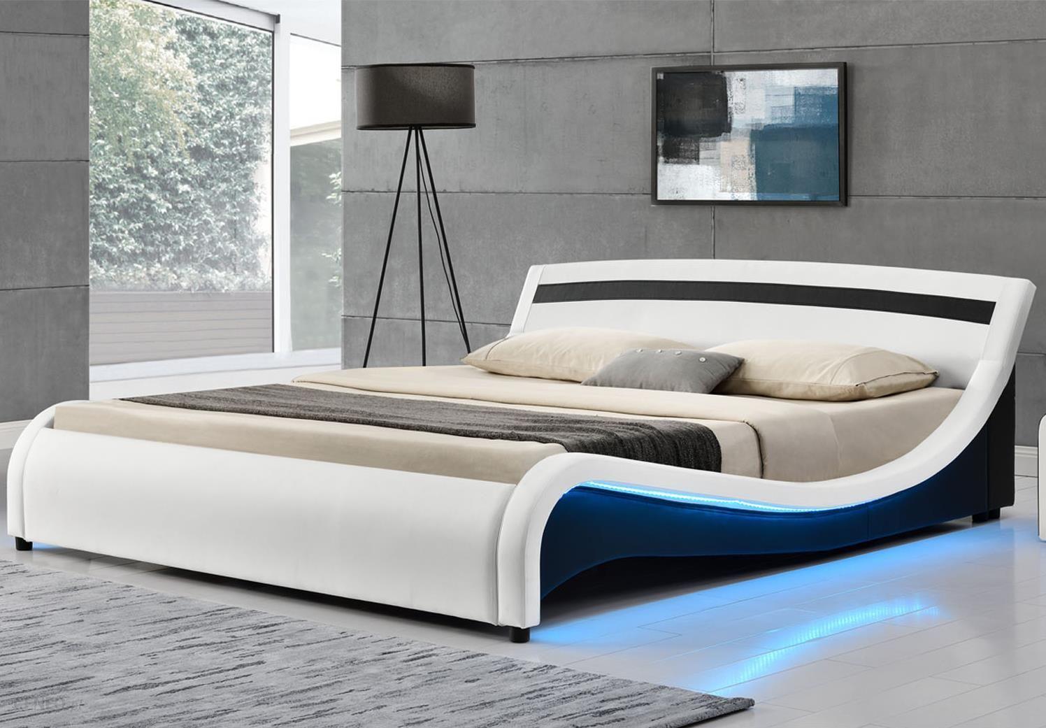 łóżko Tapicerowane Skórzane 160x200 Malaga Biało Czarne Led Opinie I Atrakcyjne Ceny Na Ceneopl