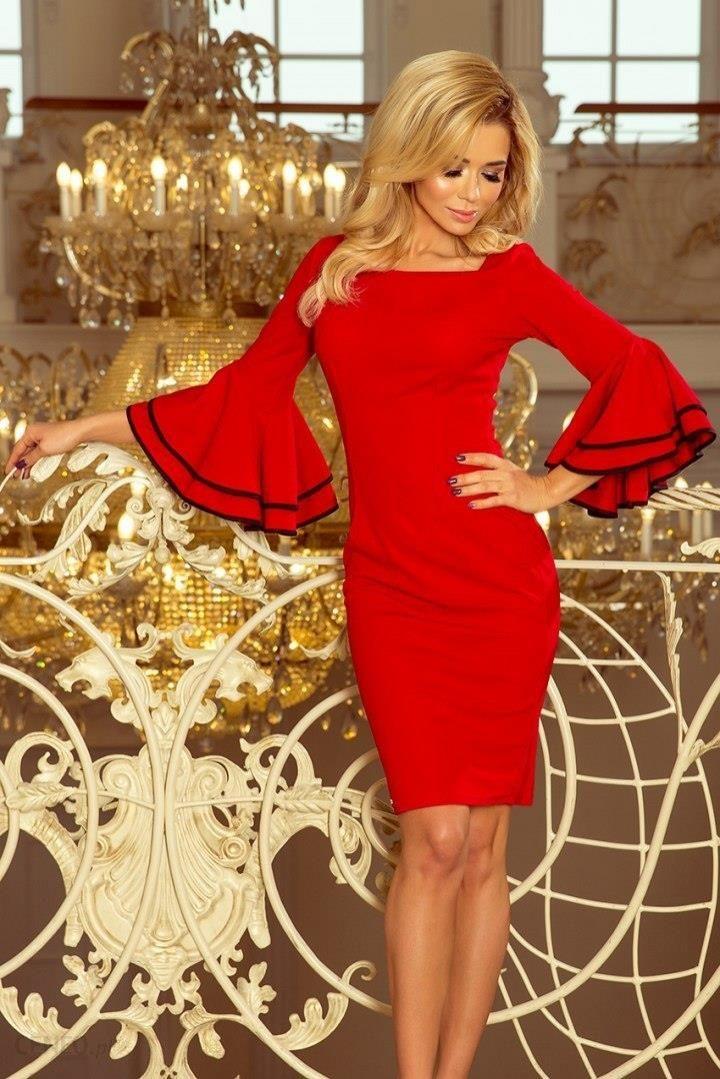 cb4e80b501 188-1 CARMEN sukienka z hiszpańskimi rękawkami - CZERWONA - Ceny i ...