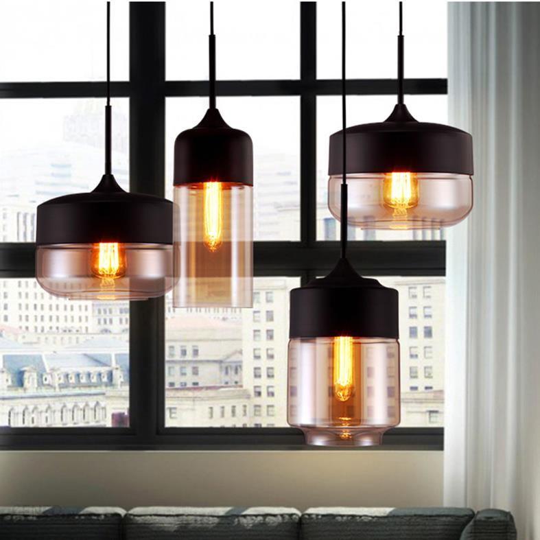Aliexpress Europejskie Szklane Lampy Wiszące Lampy Loft Retro Wiszące Strona Główna Oświetlenie Czarny Szary Jadalnia Restauracja Lampy Droplight