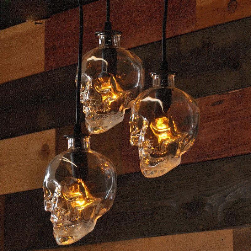 Aliexpress Vintage Skull Szef Szkło Wiszące światła Wisiorek Wisiorek Wisiorek światła Lampy Dla Sztuki Dekoracji Edison żarówka E14 Hurtownie