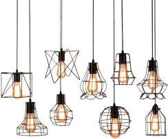 AliExpress Retro klatka wisiorek światło żelazo minimalistyczny Skandynawski loft piramida lampa wisząca metalowe Wiszące Lampy E27 Światło w Pomieszc