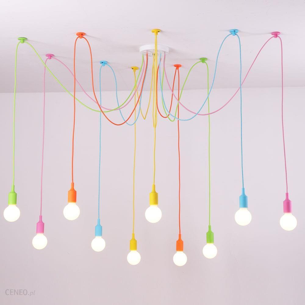 Aliexpress Niestandardowe Wisiorek światła Kolorowe Diy Oświetlenie Wielu Kolor Silikonu E27 Uchwyt żarówki Lampy Dekoracji Domu 4 12 Arms Tkaniny Kab