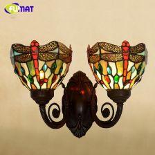 AliExpress FUMAT Szkło Artystyczne Ścienne Światła Dekoracyjne Dragonfly Witraż Odcień Światła Oprawa Lampy Korytarz Bar Kinkiety Ścienne Kinkiety
