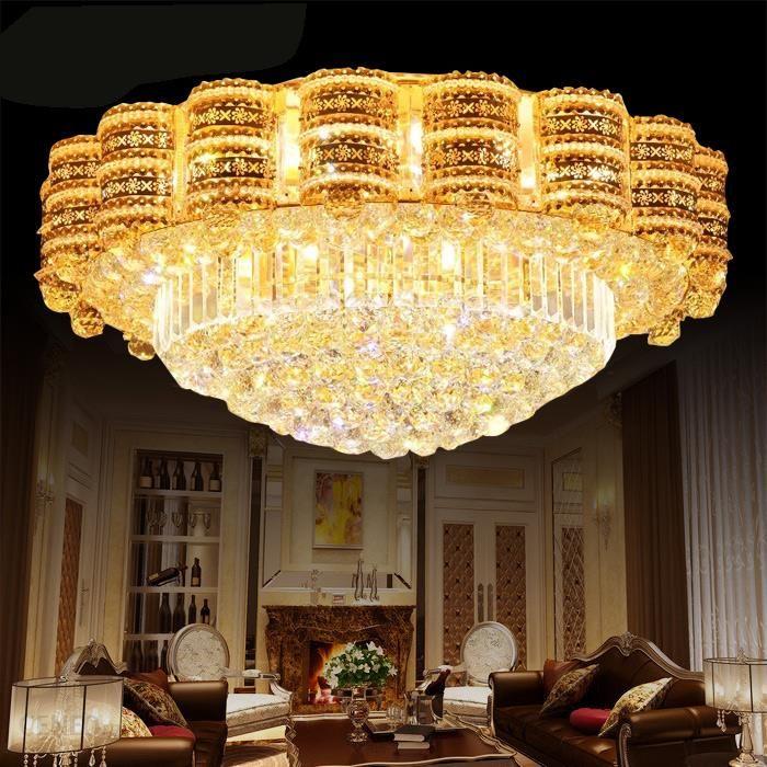 Aliexpress Luksusowe Oświetlenie Led Kryształowy żyrandol Salon Atmosfera Pokój Dzienny Lampy Kryształowe światło Okrągłe Lampy Oświetlenie Led Dużej