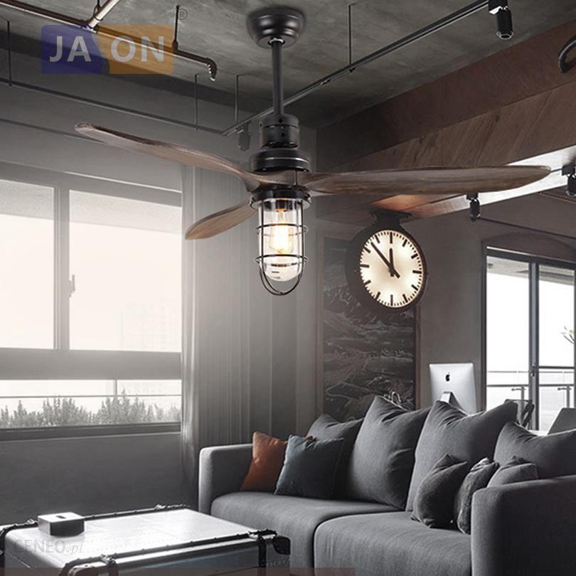 Aliexpress Loft Drewna żelaza Szkło Wentylator Sufitowy Led E27 Lampa Led Led Light Lampy Sufitowe Oświetlenie Sufitowe Led Lampa Sufitowa Do Foye