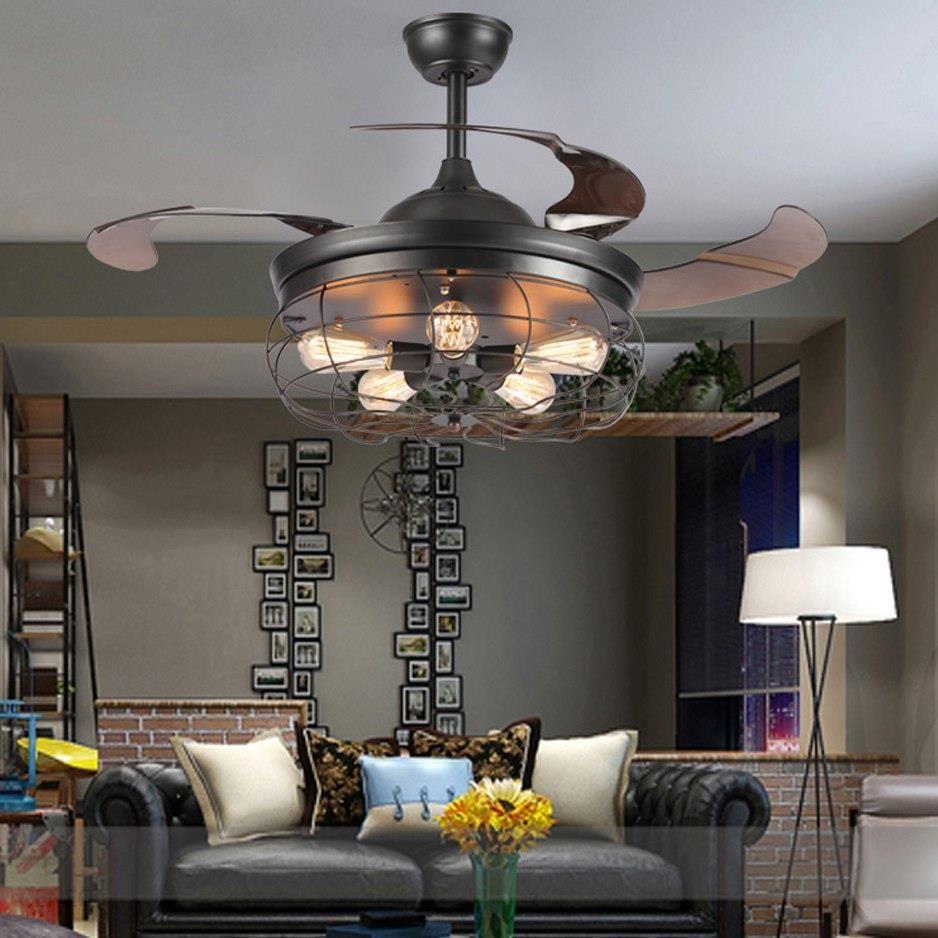 Aliexpress Led E27 Poddaszu Ze Stali Nierdzewnej Acryl Wentylator Sufitowy Diodowa Led Light Lampy Sufitowe Oświetlenie Sufitowe Led Lampa Sufitow