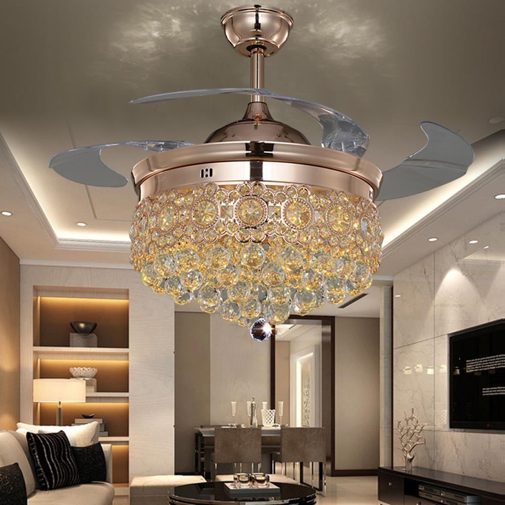Aliexpress Led Nordic żelaza Kryształ Sufitu Wentylatora Diodowa Led Light Lampy Sufitowe Oświetlenie Sufitowe Led Lampy Sufitowe Dla Przedpokój