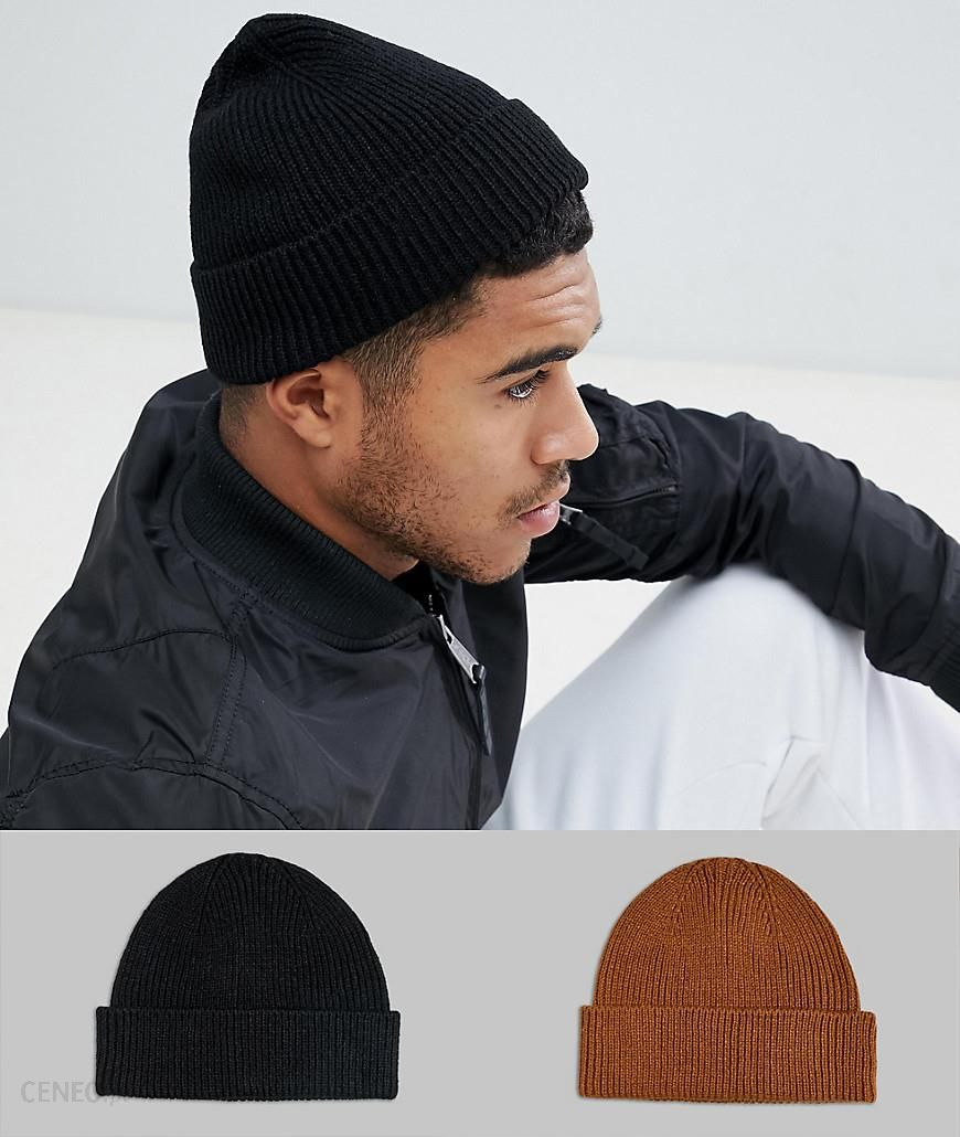 ASOS DESIGN 2 pack fisherman beanie in black   tobacco recycled polyester  SAVE - Black - 546327db02c