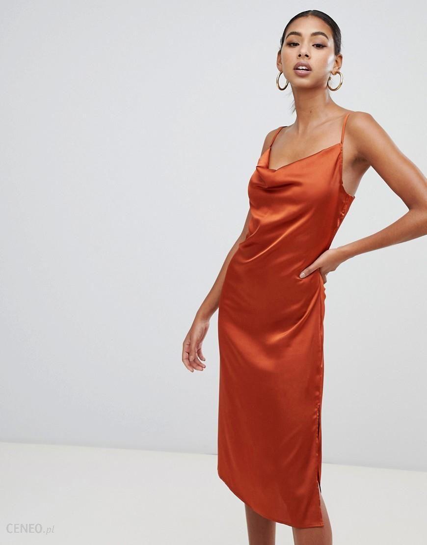 Missguided strappy cowl midi satin dress in rust - Orange - zdjęcie 1 3ce416bd4