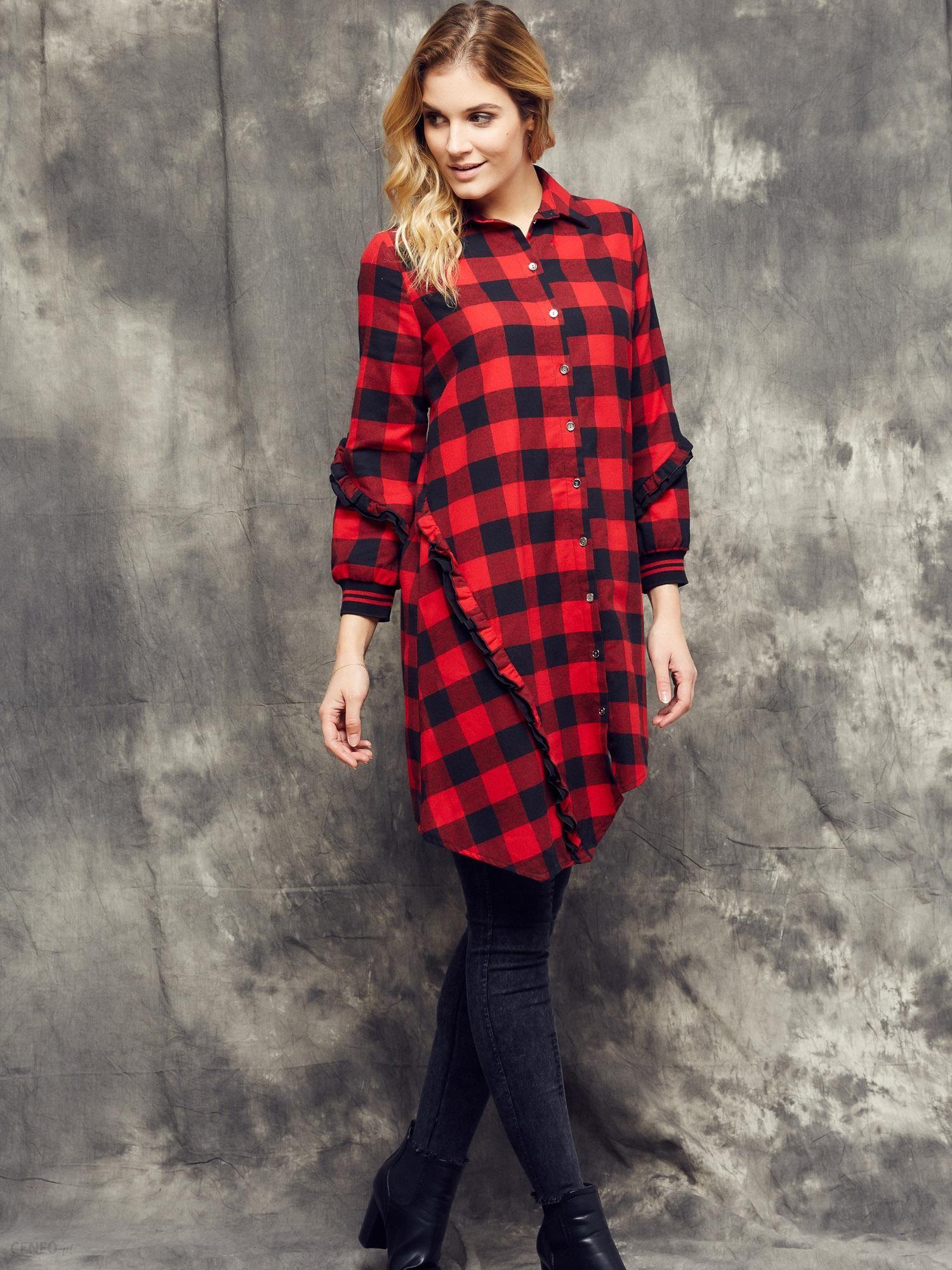 9bf34f57c5 Sukienka koszulowa w kratę buffalo Cocomore Boutiqe czerwono - czarna -  zdjęcie 1