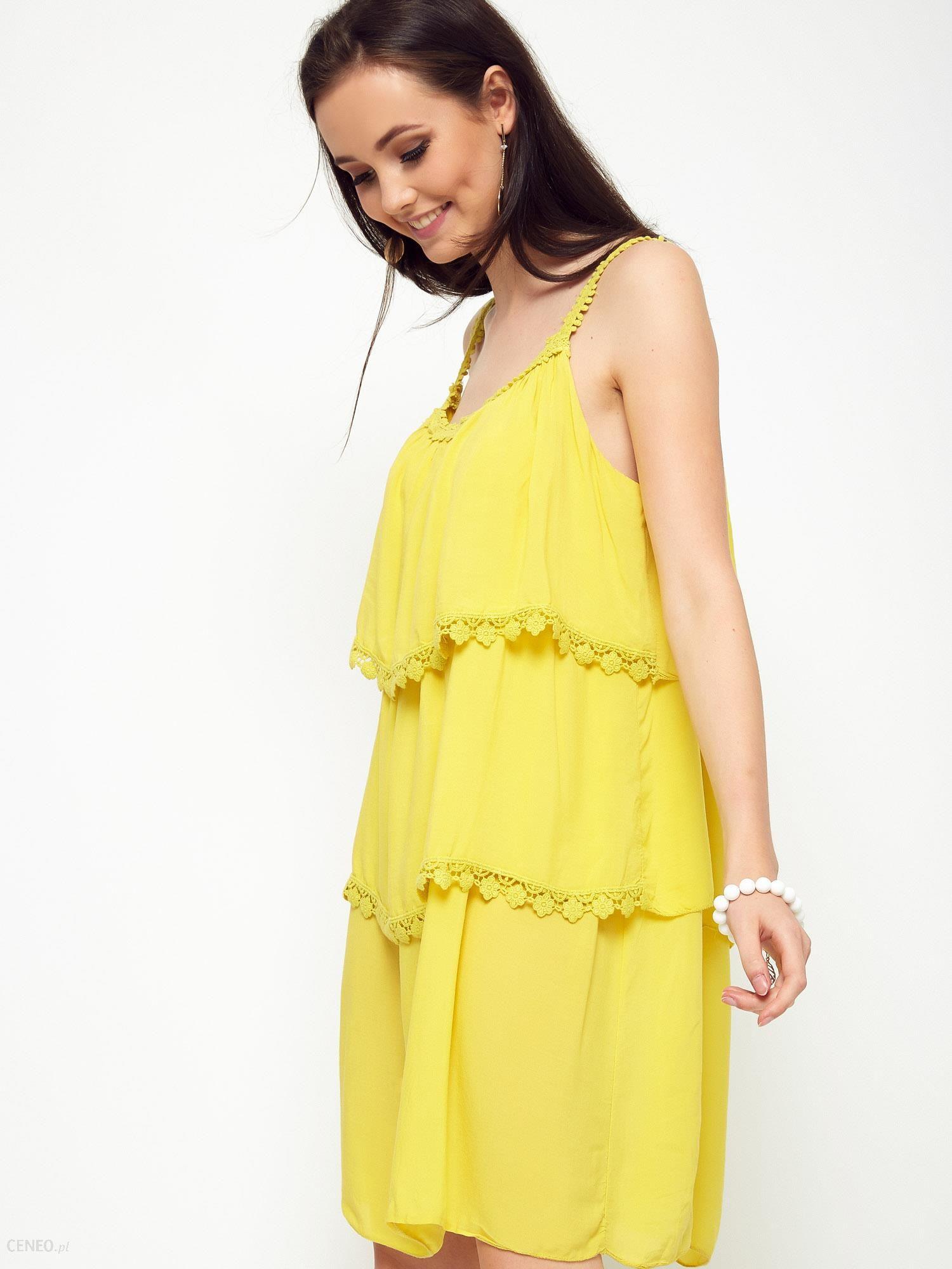 6d932ea2d23c93 Sukienka z falbanami zdobiona koronką żółta - Ceny i opinie - Ceneo.pl