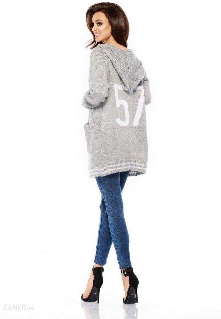 5003b7a9d5883f Lemoniade LS210 Luźny casualowy sweter narzutka jasnoszary - Ceny i ...