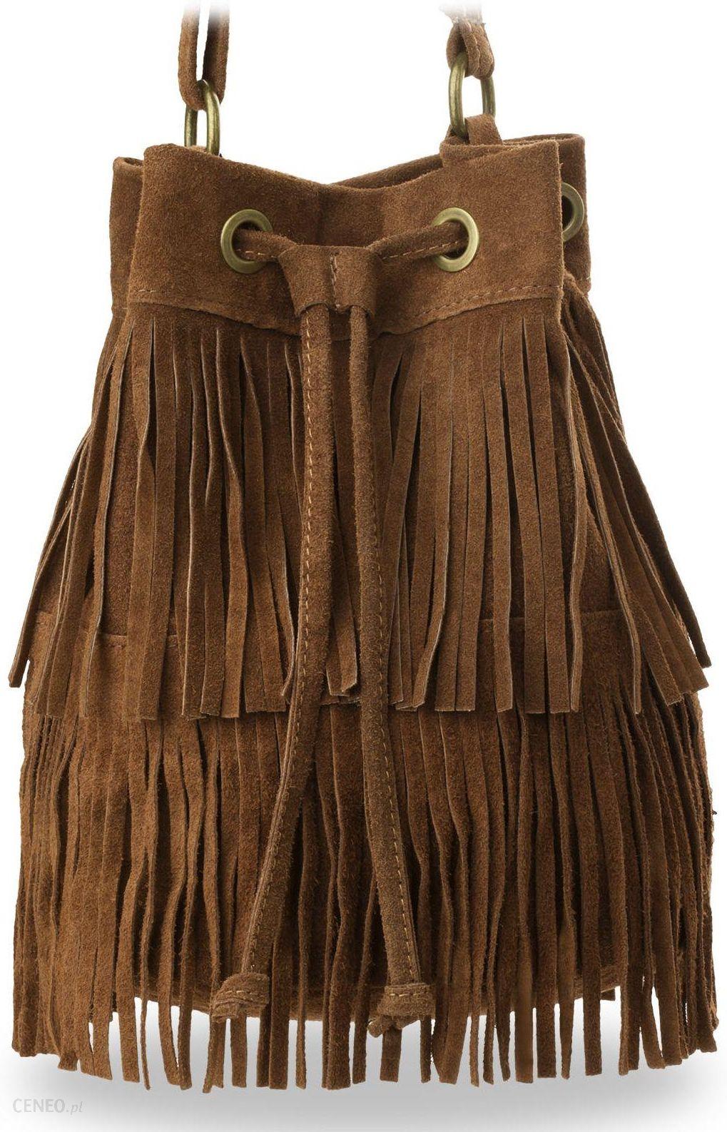 Sakwa torebka boho worek damski zamsz made in italy hippie jasny brąz