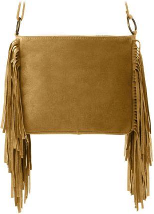 3e3e160127290 Hippie torebka boho damska skora naturalna zamsz frędzle - ciemny ...