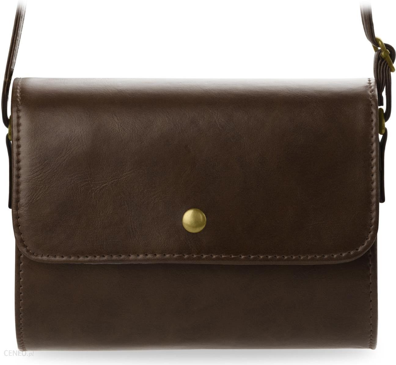 Mała sztywna torebka damska listonoszka przewieszka retro kolory brązowy