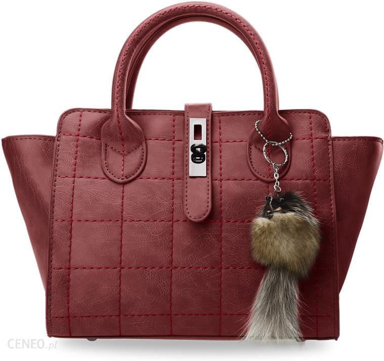 6a33d54ff3402 Kuferek damski torebka do ręki i na ramię mała aktówka + brelok - czerwony  - zdjęcie