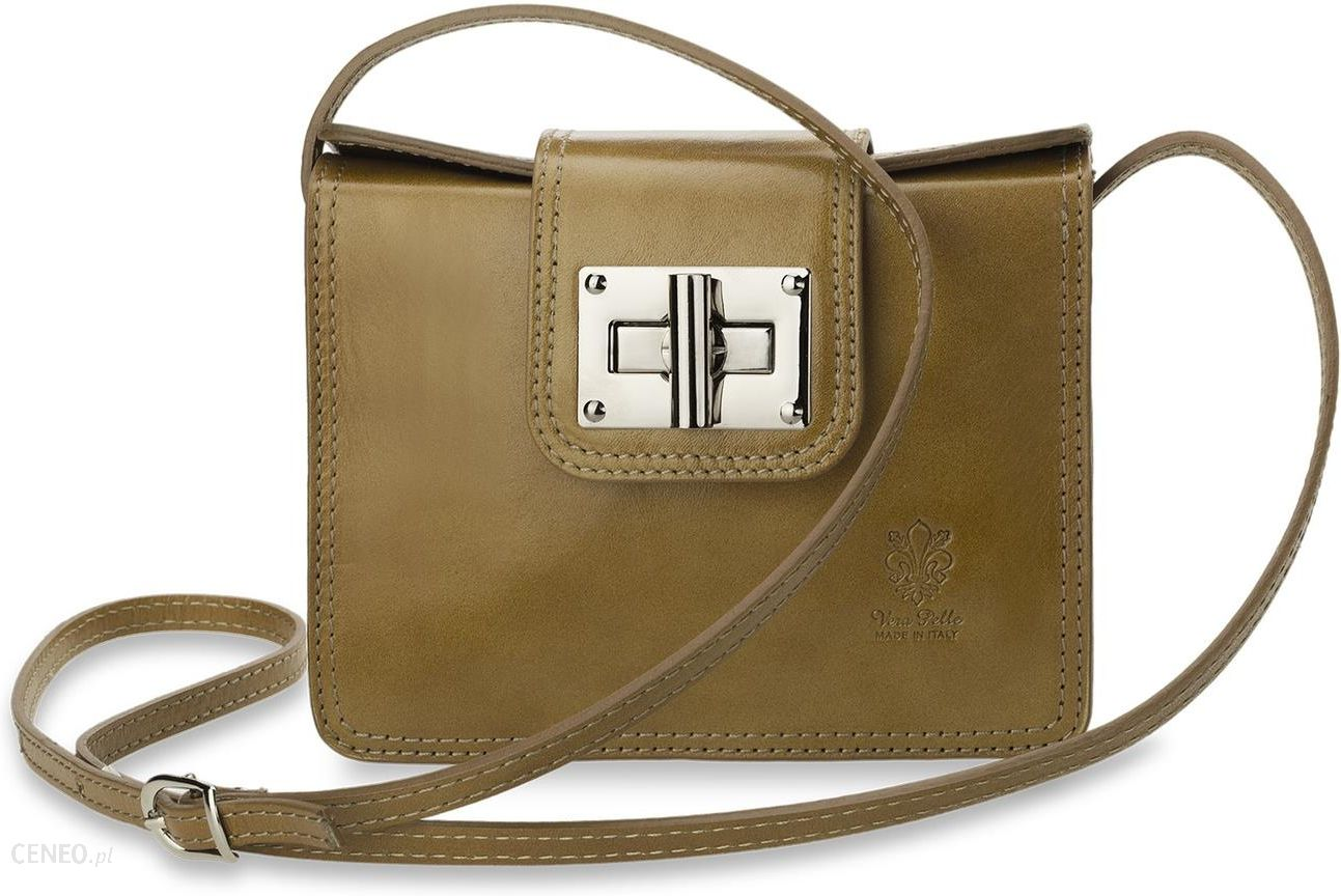 ef2be169ce92b Piękna włoska listonoszka torebka damska protokąt vera pelle - brązowy -  zdjęcie 1