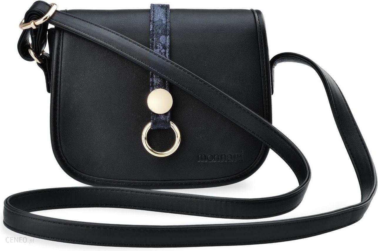 f2d4cbf13d47b Elegancka listonoszka monnari mała torebka damska z klapką przewieszka –  czarny - zdjęcie 1