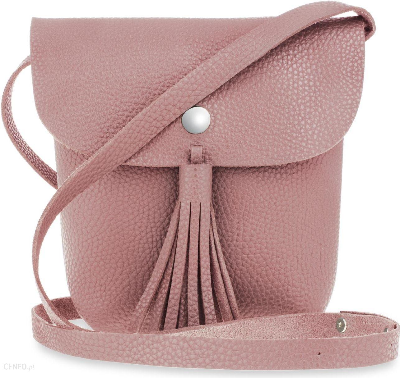 77d4d1c86083e Listonoszka boho mała torebka damska z frędzlami i klapką – różowy -  zdjęcie 1