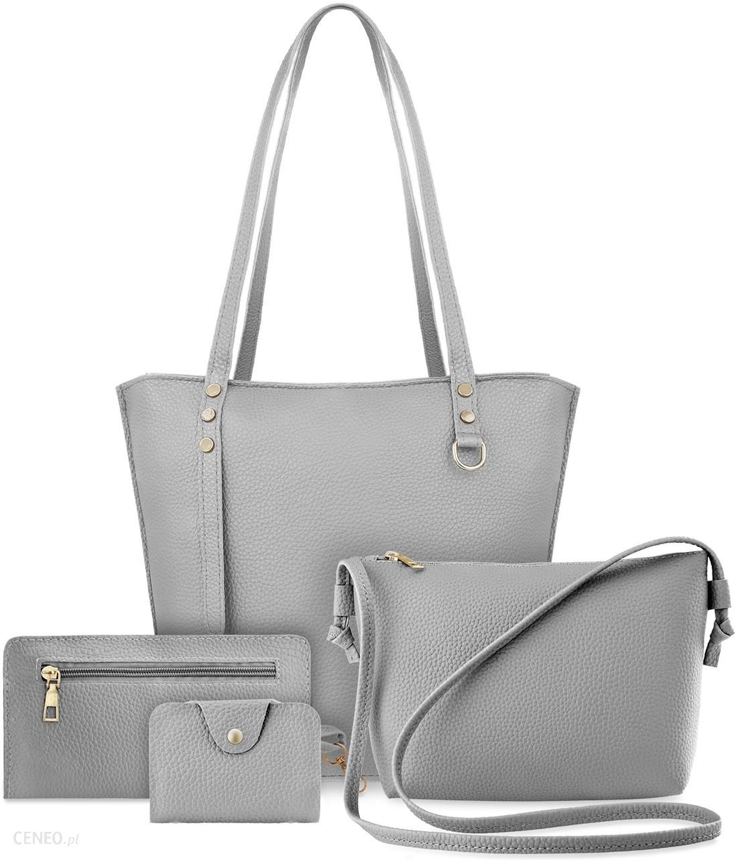 Zestaw torebek damskich 4w1 shopper bag listonoszka etui saszetka szary