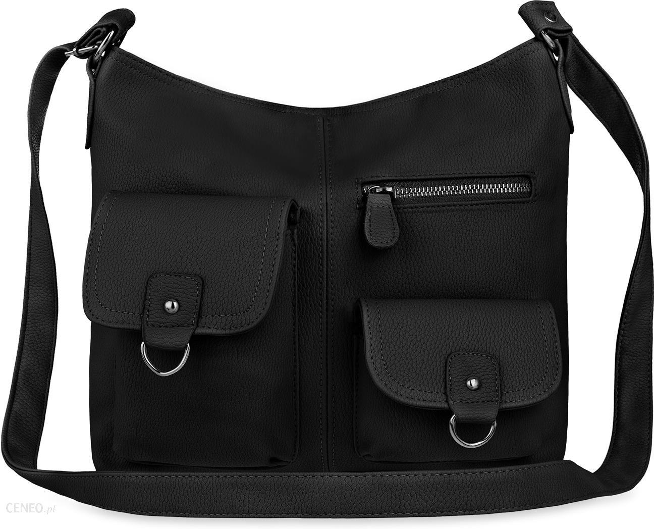 294f997adc6d9 Praktyczna torebka damska raportówka przewieszka z kieszonkami - czarny -  zdjęcie 1