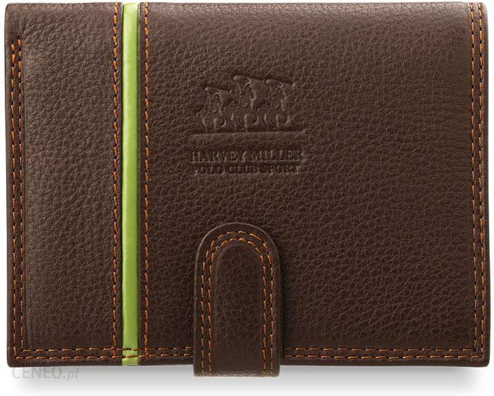 1075380edcc5e Klasyczny skórzany portfel męski harvey miller polo club z zapinką -  brązowy - zdjęcie 1