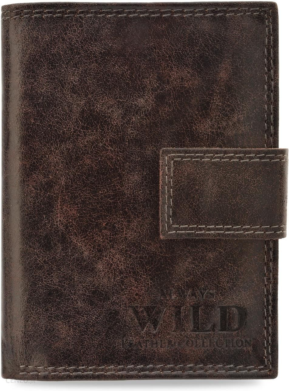1088aa84e90d1 Skórzany portfel męski always wild z zapinką pionowy – brązowy - zdjęcie 1