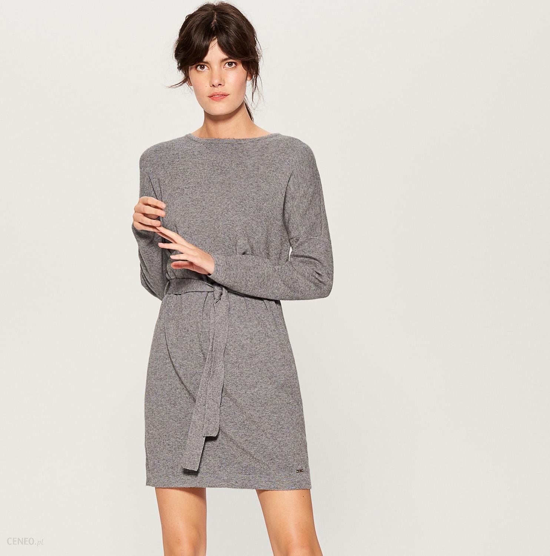 15eff6327a18 Mohito - Dzianinowa sukienka z wiązaniem w talii - Szary - Ceny i ...